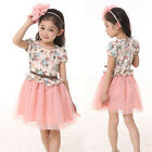 Kids Girls Gauze Princess Tutu Floral Party Formal Dress Pageant Toddler Skirt