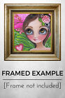"""Pink Dragonfly Fairy"" Art Print Big Eyed Girl Green Whimsical Flower Painting"