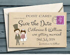 SAVE THE DATE MAGNETS Cute Couple Brunette Bride Mini Post Card Dark Hair Couple