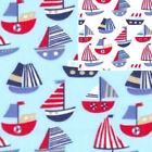 Printed Polyester Cotton Fabric - Sail Boats - 6293