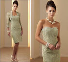Green Short Lace Mother of the Bride Dress With Free Jacket Size8+10+12+14+16+18