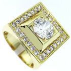 Mens Big Square Simulated Diamond 18kt  Gold Plated Ring