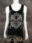 Womens VOCAL Shirt Sleeveless Top with Beautiful Prints in Black