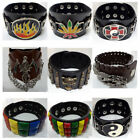 Black / Brown Leather Bracelet Wristband Bangle Mens Ladies Womens Boys Girls