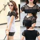 Women Lace Carved Patchwork Summer T-shirt Plus Size M-3XL Slim T-shirt Tops