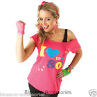 C955 I Love the 80's Pink T-shirt Costume 1980s Fancy Dress Top Outfit