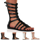 WOMENS LADIES ANKLE ZIP STRAPPY SUMMER FLAT GLADIATOR SANDAL SHOES SIZE 3-8