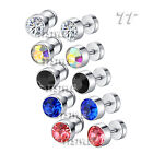 TTstyle 7mm Surgical Steel Round Piecing Earrings APair 5 Colour Available