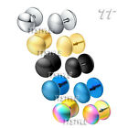 TTstyle Surgical Steel Round Fake Ear Plug Earrings A Pair 8mm-10mm