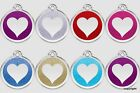 RED DINGO STAINLESS STEEL WITH GLITTER DOG ID TAGS HEART FREE ENGRAVING