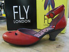 Fly London Flus Red Leather Buckled Strap Cut Out Shoe Size UK 7 EU 40