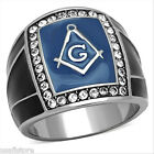 Masonic Mason Top Grade Crystal Blue Black Silver Stainless Steel Mens Ring