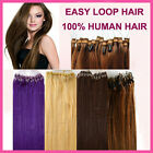 """16""""-26"""" Micro Loop Bead Ring Tube 100% Remy Soft Human Hair Extensions 100S"""