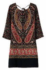 New Women vintage Palace print Three Quarter Sleeve European style Casual dress