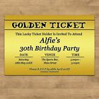 Personalised Golden Ticket Birthday Party Invites Invitations With Envelopes