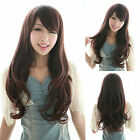 Womens Curly Wavy Long Hair Full Wigs Fashion Cosplay Party Black/Brown Wig