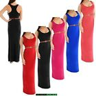 Womens Belted Racer Muscle Back Scoop Neck Maxi Long Vest Evening Long Dress
