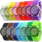 UNISEX WOMENS ANALOG SILICONE GENEVA JELLY GEL QUARTZ SPORTS WRIST WATCH