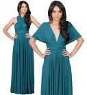 NEW Womens Elegant Teal Wrap Convertible Cocktail Party Maxi Dress L