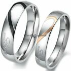 Stainless Steel ' Real Love ' Heart Couples Promise Engagement Ring Wedding Band