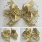 Baby/Girls Handmade Metalic Gold Butterfly, Party Hair Bow Clip bobble