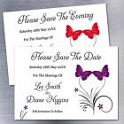 Personalised Butterfly Wedding Save The Date Fridge Magnets Invites 12 Colours