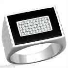 Mens Black Top Clear CZ Pave Bling  925 Sterling Silver Ring