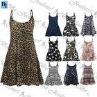 Womens Ladies Sleeveless Flared Printed Strappy Vest Swing Dress Top Plus Sizes