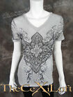Womens VOCAL Shirt Short Sleeve Heather Grey Floral Lace with Cute Stones!