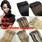 "Full Head Straight 15"" 18"" 20"" 22"" 24"" Clip In Real Remy Human Hair Extensions"