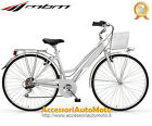 "BICI MBM TOURING WOMAN RUOTE 28"" BICICLETTA DONNA TREKKING CITY BIKE SILVER 18S"