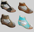 WOMENS WEDGE HEEL LADIES FLAT GLADIATOR SUMMER BEACH HOLIDAY SANDALS SIZE 3-8