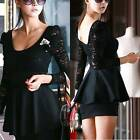 WOMENS VINTAGE SEXY LACE PEPLUM PIN UP PARTY SLIM MINI DRESS AU SELLER DR096