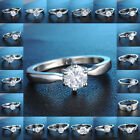 Sale High Quality 18K White Gold Filled Ring Sapphire Wedding Jewelry Size 7,8