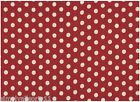 Stof Natural Linen Red Polka Dot Fabric - Sewing, Quilting, Patchwork 100% Linen