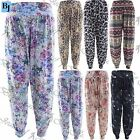 Womens Ladies Printed Ali Baba Harem Pants Bottoms Trousers Leggings Plus Sizes