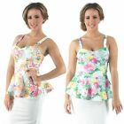 Womens New Floral Printed Peplum Top Frill Summer Colours