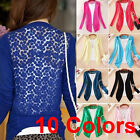 Womens Lady Sweet Lace Candy Crochet Knit Blouse Top Coat Cardigan Shirt Sweater