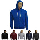 New Mens Hooded Hood Sports Warm Gym Top Fleece Sweatshirt Zip Up Plain S M L XL