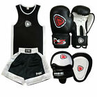 KIDS UNIFORM BOXING SET 2 PIECES WITH BOXING GLOVES FOCUS PADS BLACK 5-12 YEARS