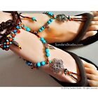 NO 16 Bead Turquoise Gypsy Bohemian Brown crochet Barefoot Sandals foot jewelry