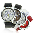 Stunning Round Dial Faux Leather Strap Quartz Men's Wrist Watch Colorful