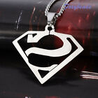 "Cool Men Stainless Steel Superman Symbol Charm Pendant Necklace 19"" FB Gift S/L"