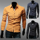 Hot Stylish Long Sleeve Solid Men's Casual Formal Slim fit Top Suit Dress Shirts