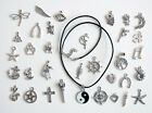 Tibetan/Antique Silver Charm Pendants with Real Black Leather Cord Necklace