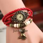 Chic Retro Antique Beads Braid Rope Animal Design Wrist Chain Bracelet Watch NEW