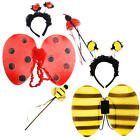 Ladybird or Bumblebee Wings Set Girls Fancy Dress Bug Insect Kids Childs Costume
