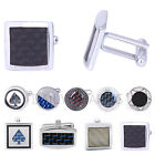 Men's Carbon Fiber Stainless Steel Cufflinks Formal Wedding Party Suit Accessory
