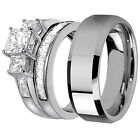 His Stainless Steel Her 925 Sterling Silver Princess Cut Wedding Bridal Ring Set
