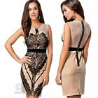 Sexy Sleeveless Brown Vintage Floral Lace Ball Formal Evening Party Mini Dress